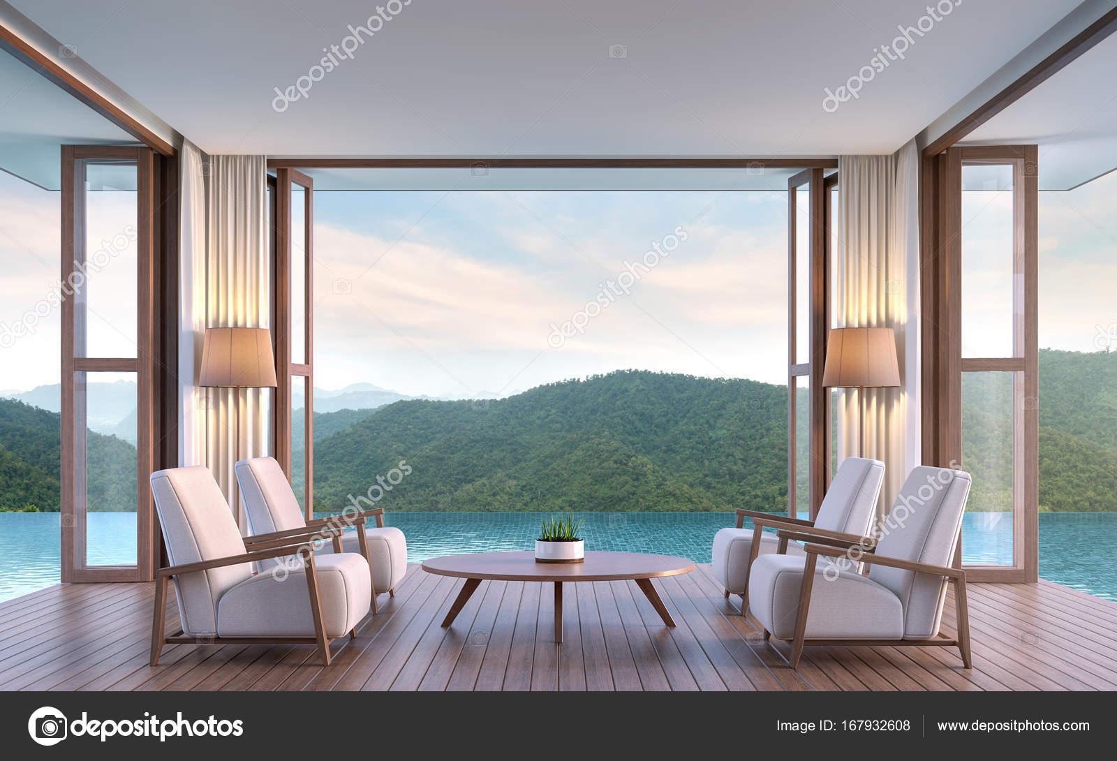 Zwembad villa woonkamer met uitzicht op de bergen 3d rendering beeld ...