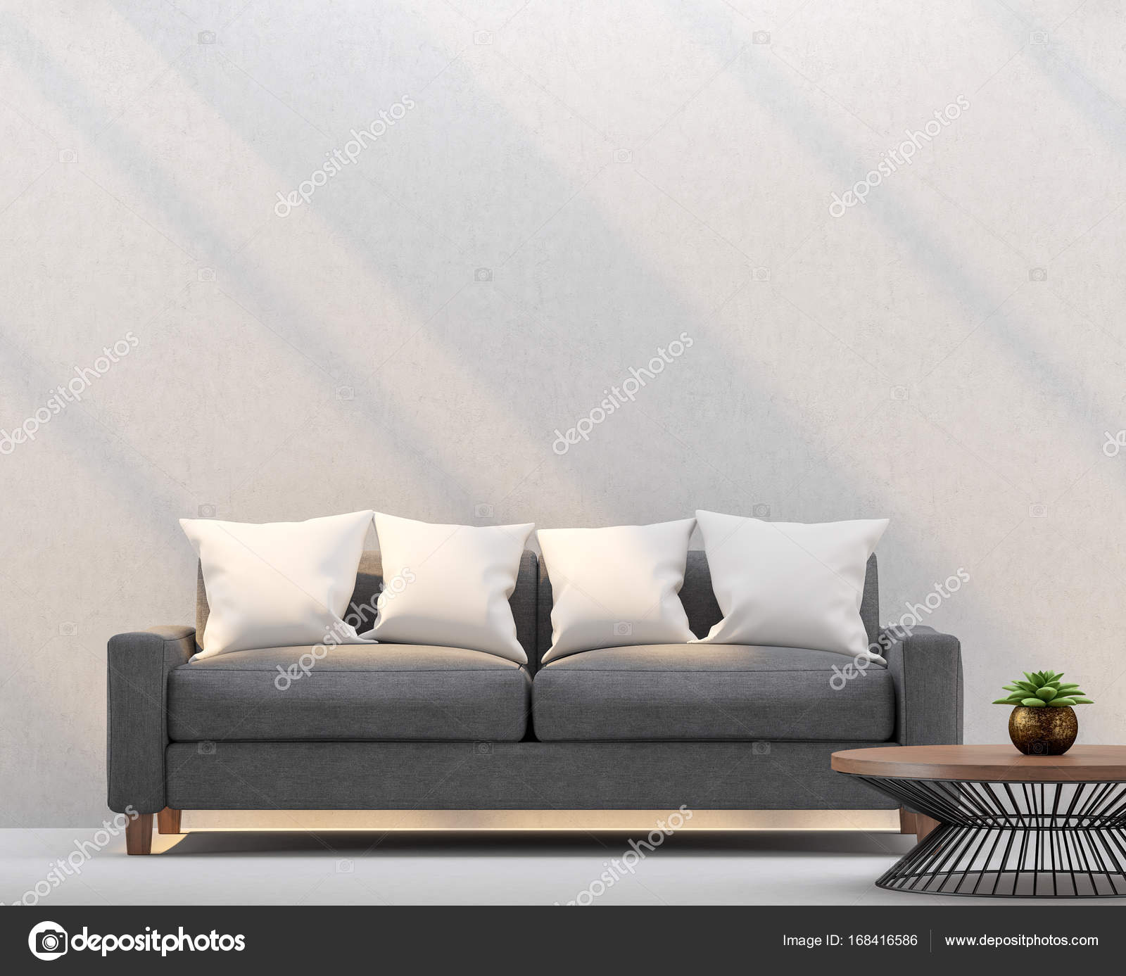 Modern Living Room And Empty Walls With Sunlight Shining Through 3d Rendering ImageThere Are White Wall PlasterFurnished Dark Gray Fabric Sofa