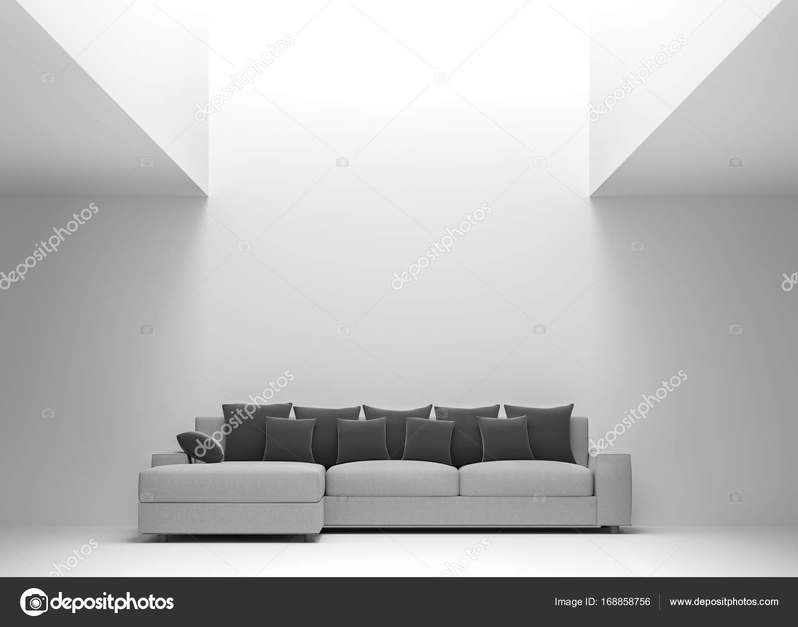 Modern white living room interior minimal style 3d rendering image ...