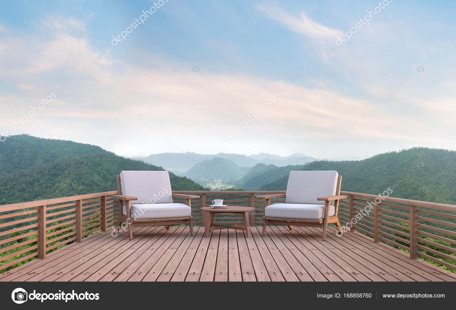 Wood Balcony With Mountain View 3d Rendering Image. There Are Wood  Floor.Furnished With Fabric And Wooden Furniture. There Are Wooden Railing  Overlooking ...