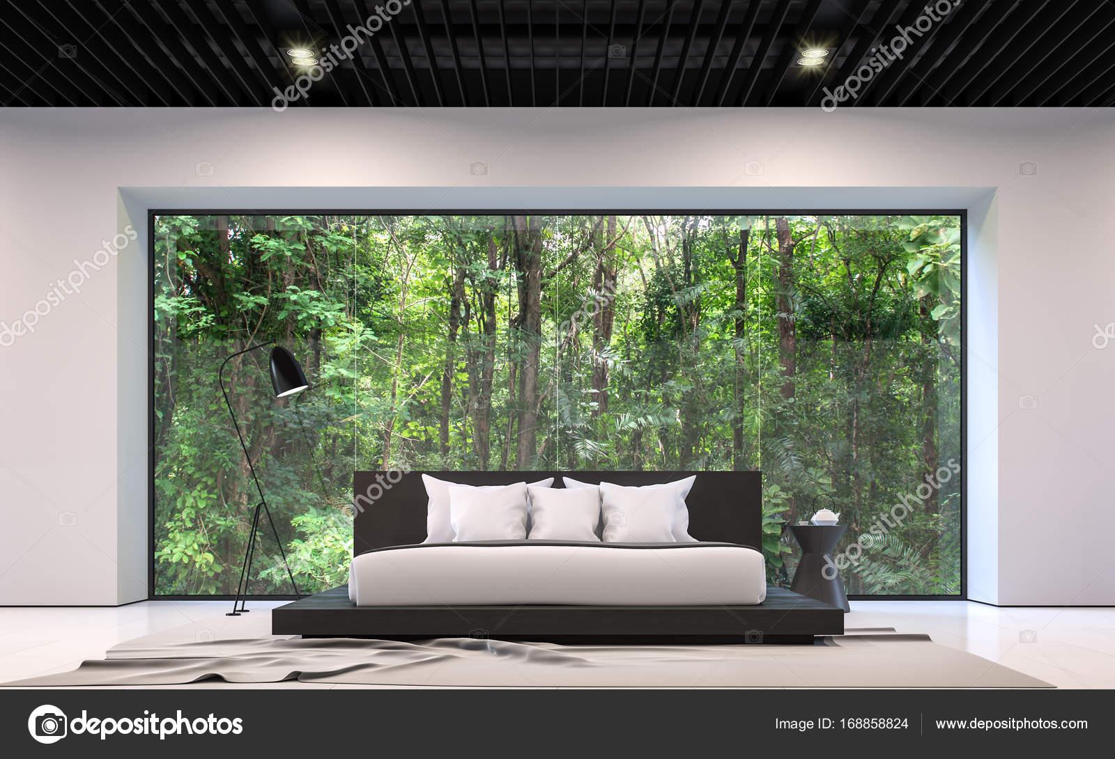 Moderne noir et blanc chambre avec image de rendu 3d de la vue forêt ...