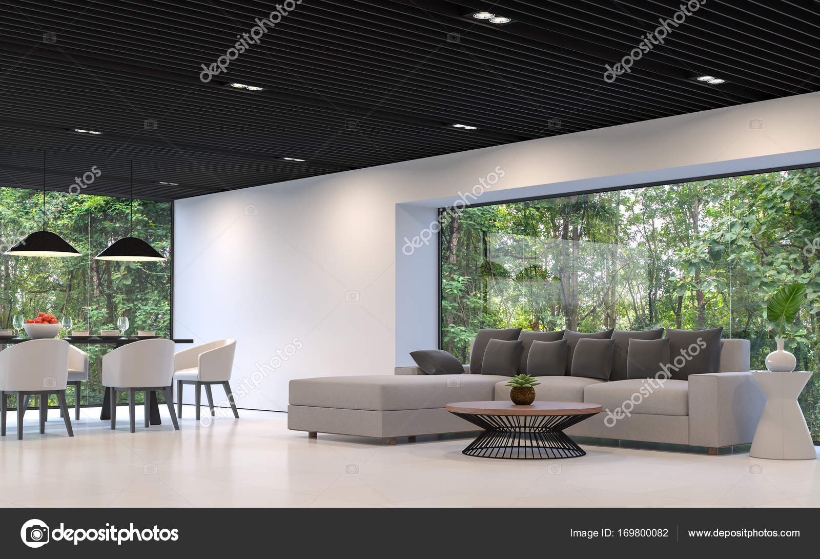 moderne Wohnzimmer und Esszimmer mit Natur anzeigen — Stockfoto ...