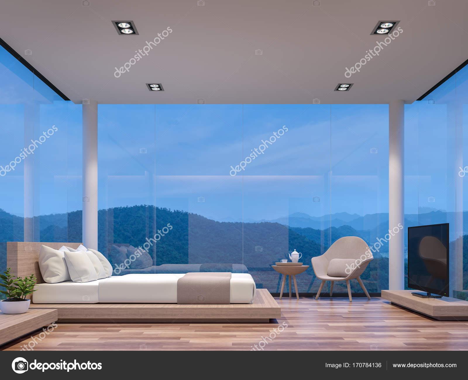 Glazen Vloer Huis : Nacht scène glazen huis slaapkamer met uitzicht op de bergen 3d