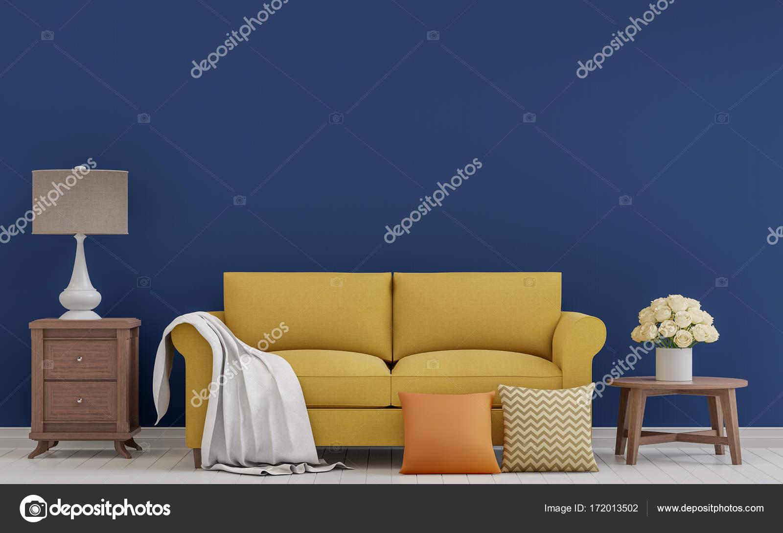 Imagem De Renderiza O 3d Colorida Sala Vintage Fotografias De  -> Sala Branca Com Parede Colorida