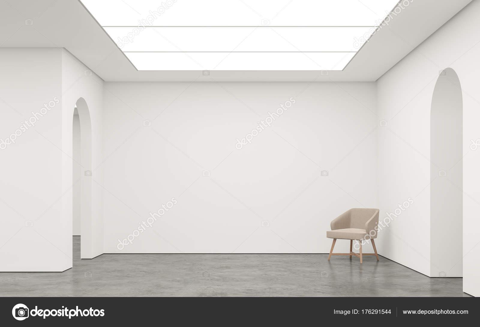 Lege witte ruimte moderne ruimte interieur rendering beeld witte