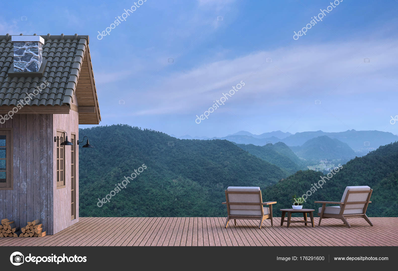Cabine huis met uitzicht bergen rendering beeld zijn houten vloer
