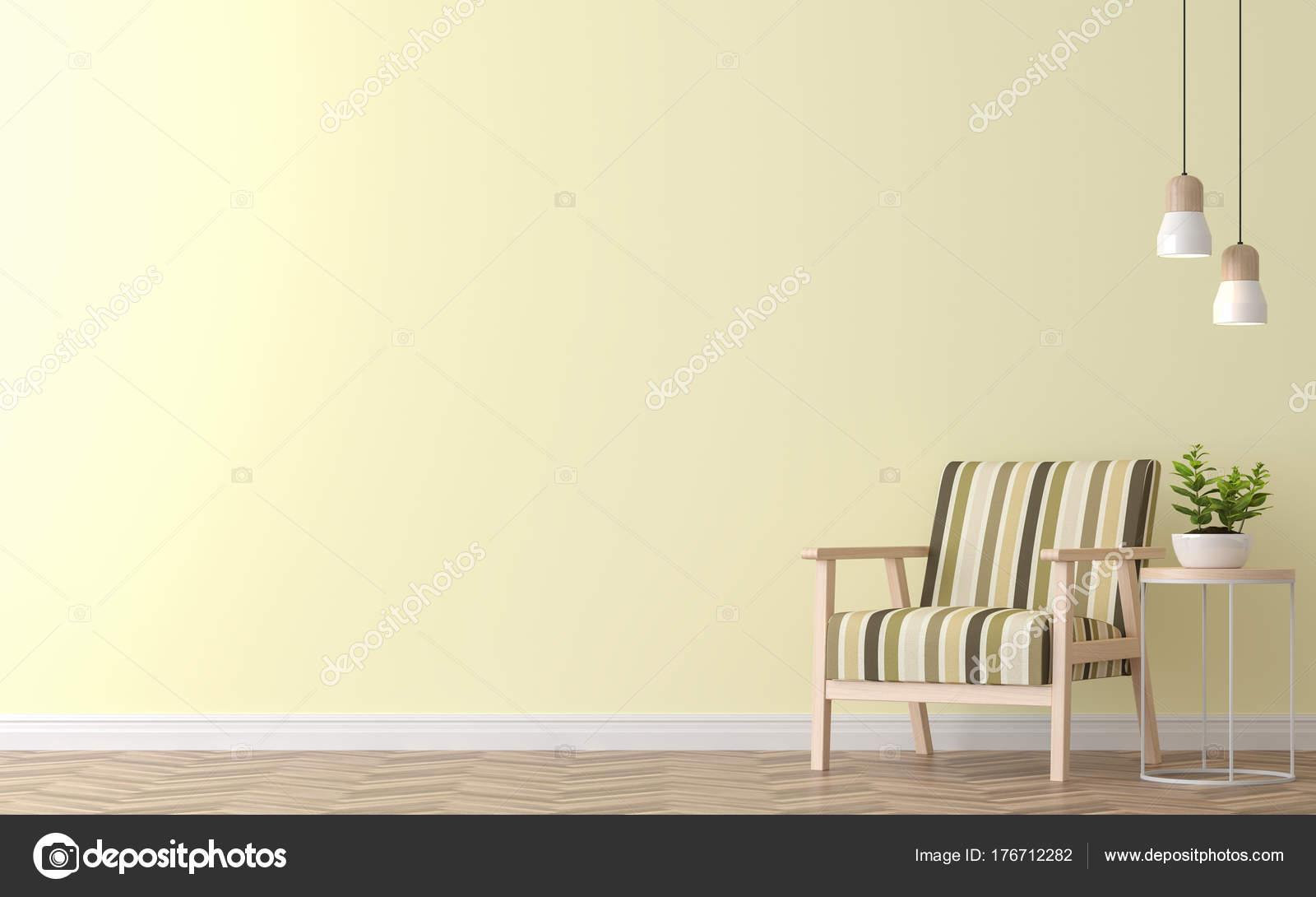 Moderne Vintage Wohnzimmer Mit Gelben Wand 3D Bild Rendern. Es Gibt Gelbe  Farbe Wand Und Holzboden, Möbliert Mit Vintage Holz Sessel U2014 Foto Von Onzon