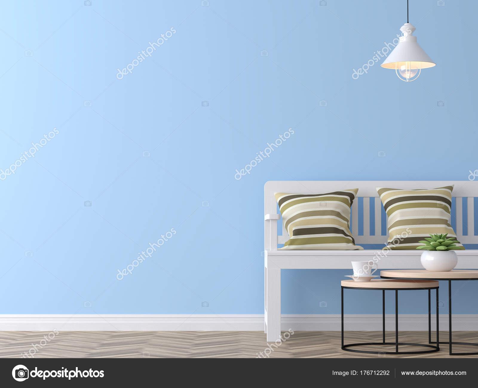 Modern Salon Vintage Avec Image Mur Bleu Pour Le Rendu 3d, Là Sont Bleu  Peinture Mur Et Plancher Bois, Meublé Avec Banc En Bois Blanc Et Coussins  Vintage ...