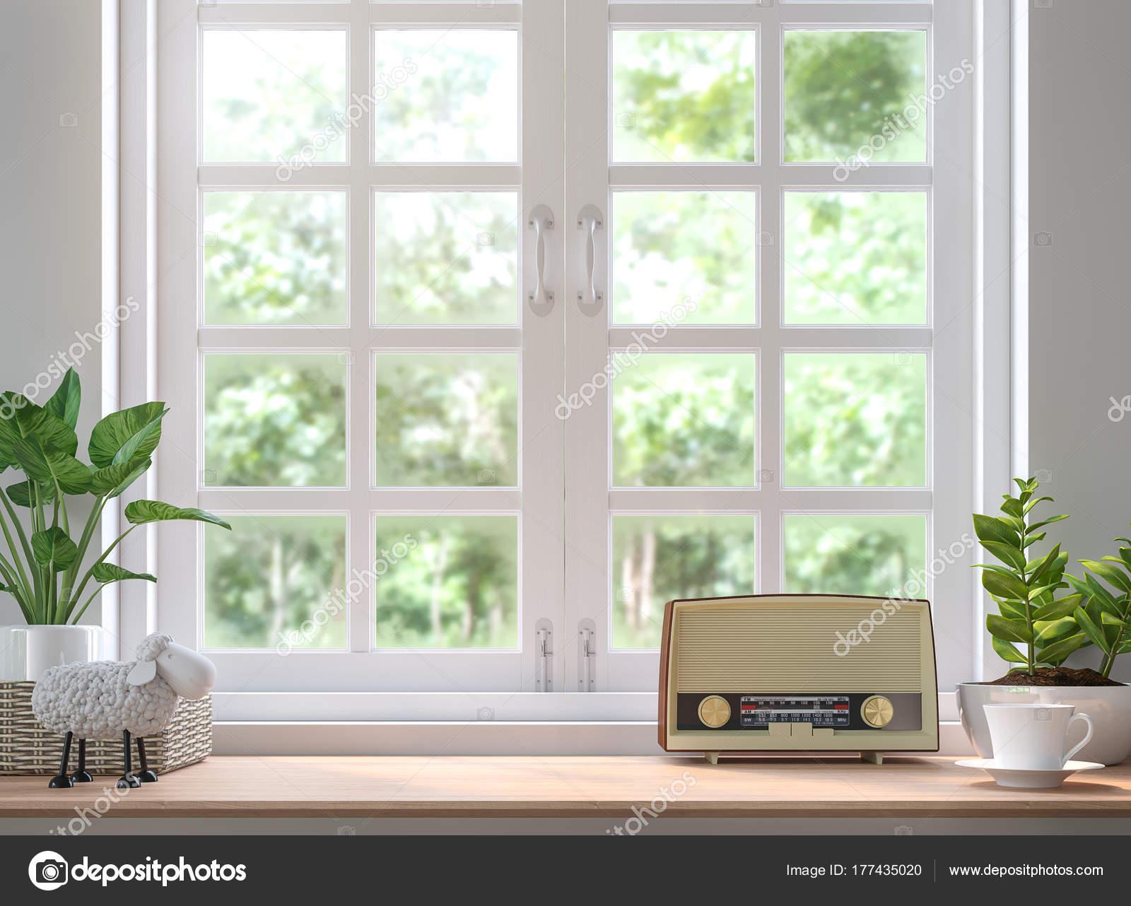Holz Regal Befindet Sich Durch Das Fenster Render Bild Dekorieren