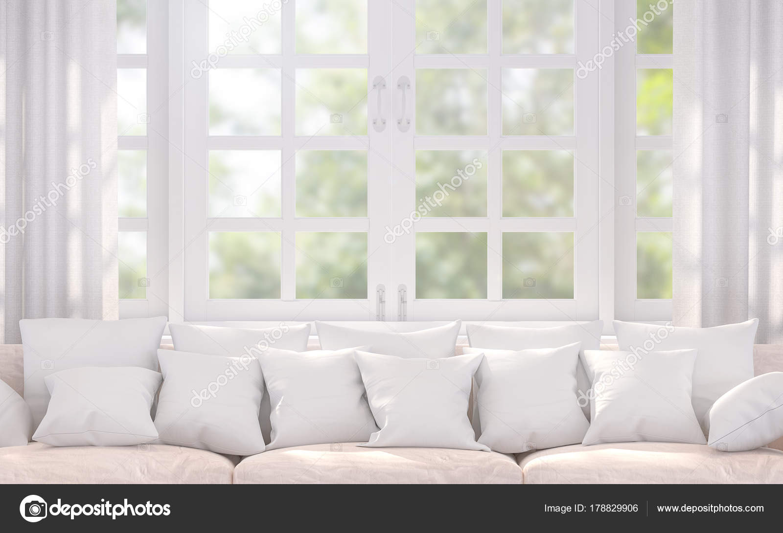 Modern White Living Room Rendering Image Decorated Beige Sofa Many ...
