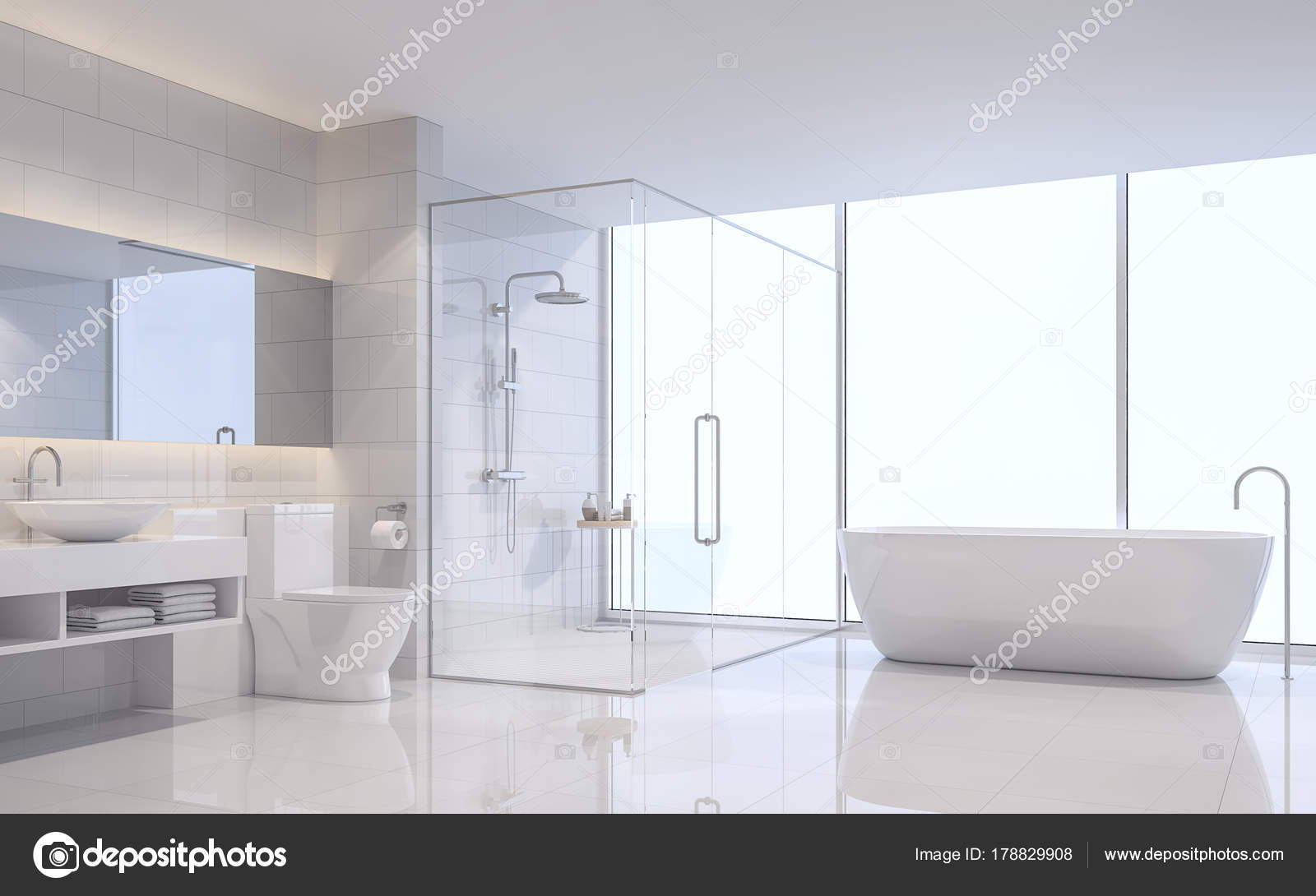 Modern White Bathroom Rendering Image White Tile Wall Floor Room ...