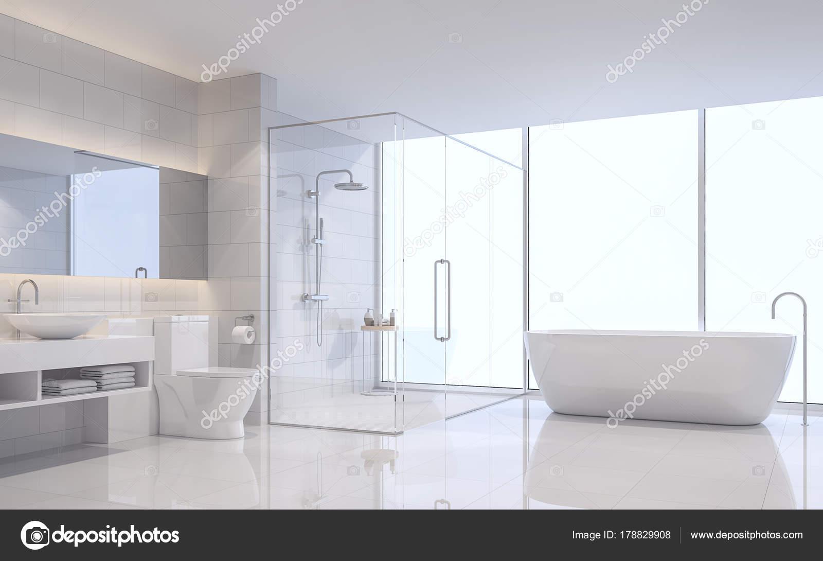 Moderne Witte Badkamer : Moderne witte badkamer rendering beeld zijn witte tegel wand vloer