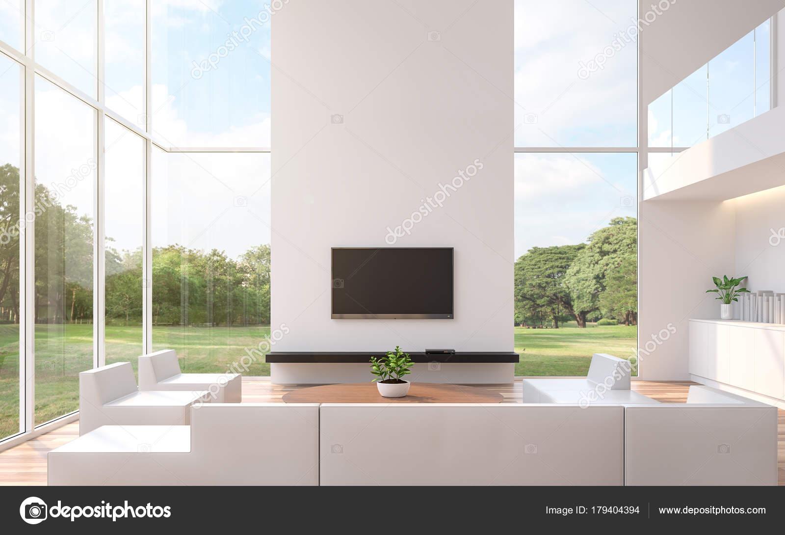 Moderno Salón Blanco Con Renderizado Vistas Naturaleza Habitación ...
