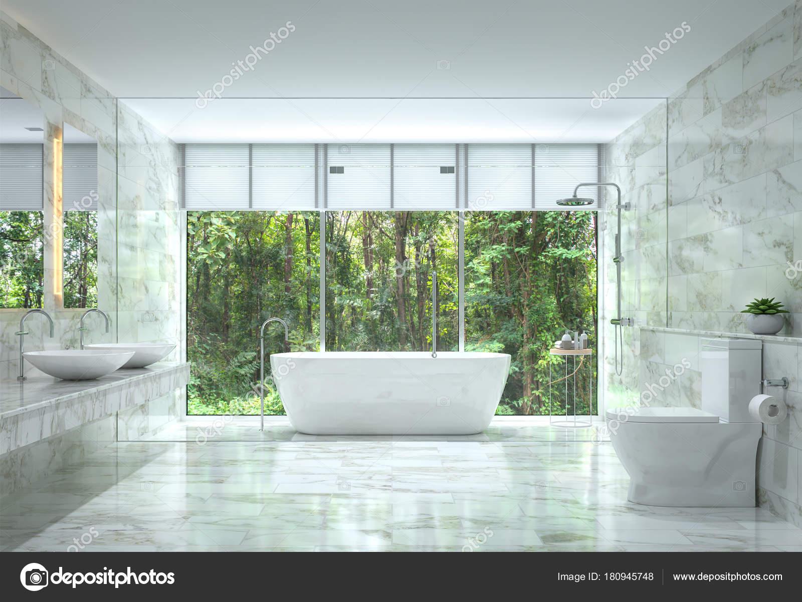 Moderne Luxus Badezimmer Mit Natur View 3d Rendering Bild. Es Gibt Weiße  Marmorfliese Wand Und Boden. Das Zimmer Verfügt über Große Fenster.