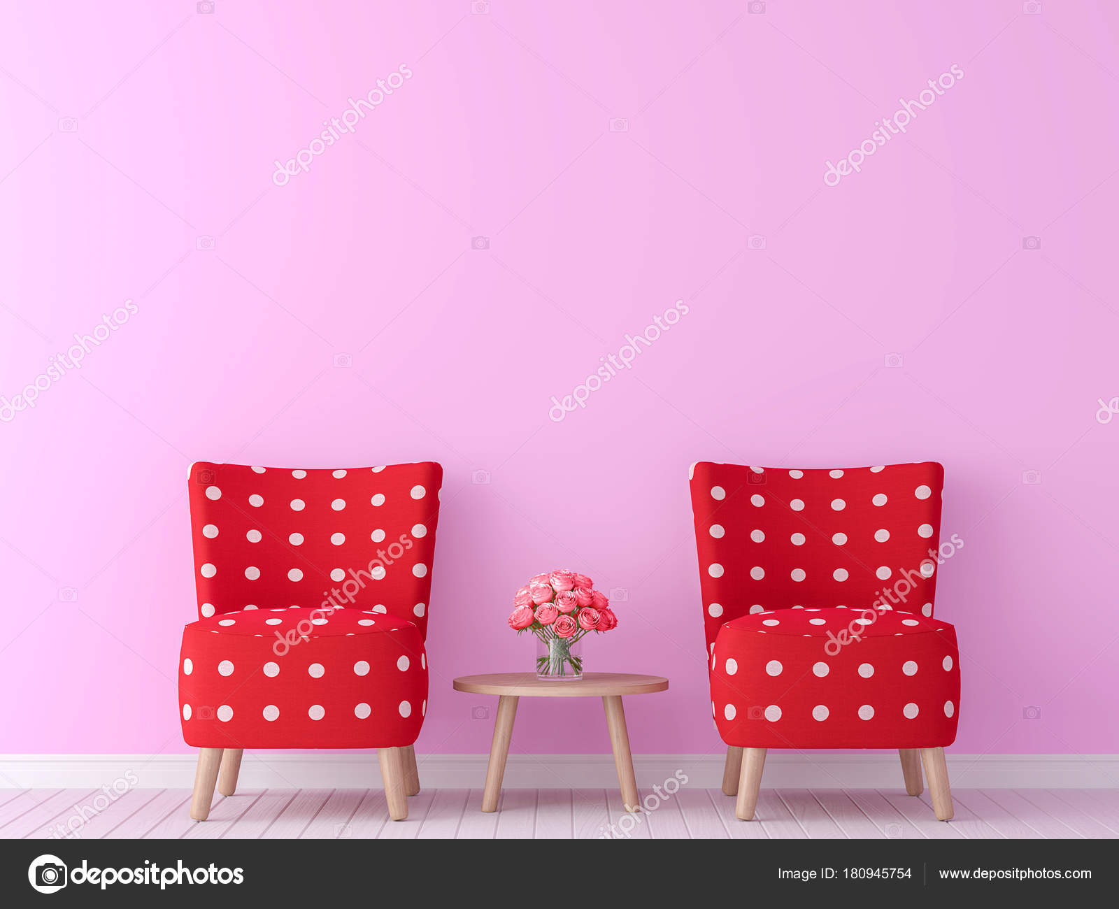 Valentine Theme Living Room 3d Rendering ImageThere Are Minimalist Style Image Pink Empty Wall And Red Furniture Photo By Onzon