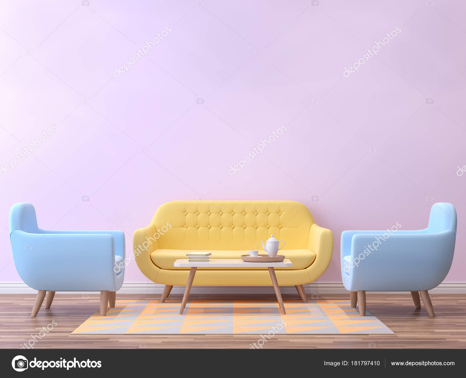Colorful Living Room With Pastel Color 3d Rendering ImageThere Are Minimalist Style Image Pink Empty Wallwood Floor Furnished Yellow And Blue