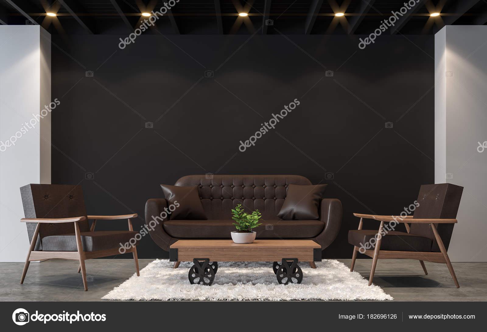 Salón Loft Moderno Con Blanco Negro Imagen Renderizado Hay Piso ...