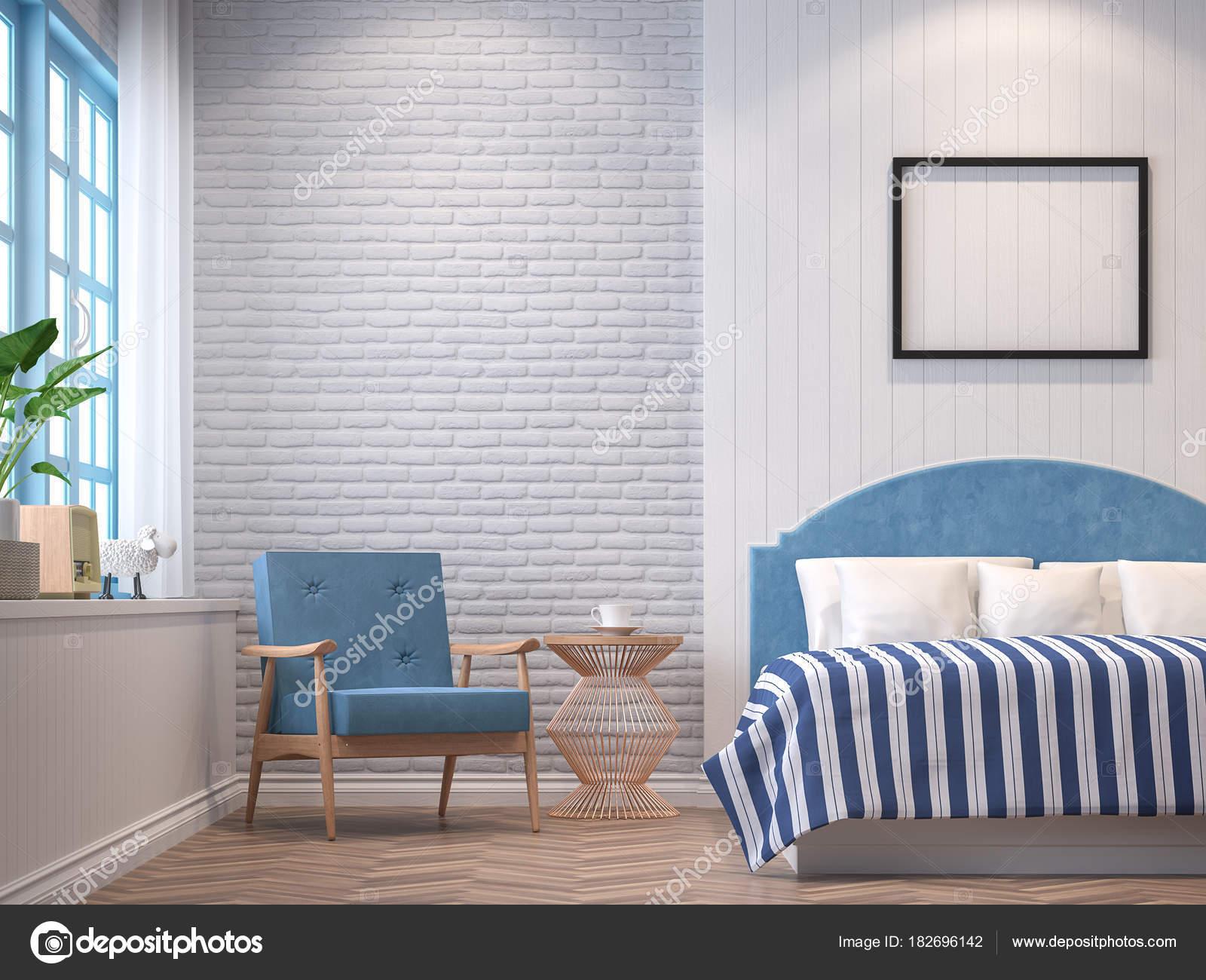 Slaapkamer Vintage Blue : Vintage slaapkamer met blauwe meubels rendering beeld kamers hebben