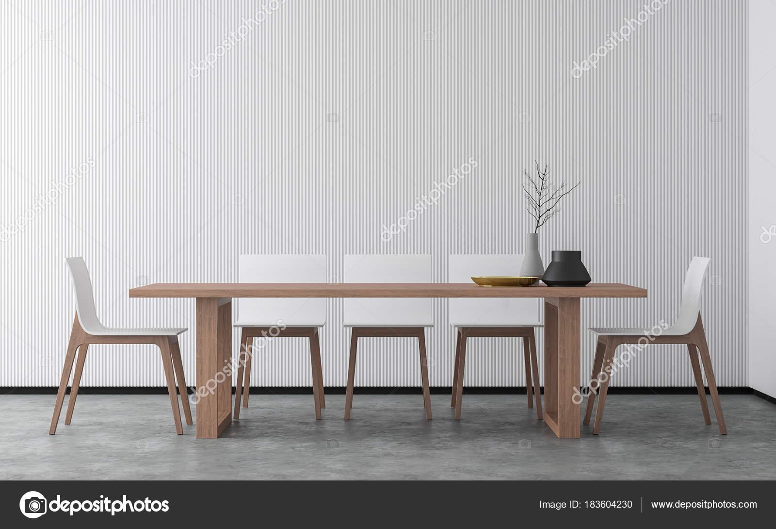 Minimalistischen Stil Esszimmer Rendering Bild Gibt Betonboden Dekorieren  Mit Weißen U2014 Stockfoto