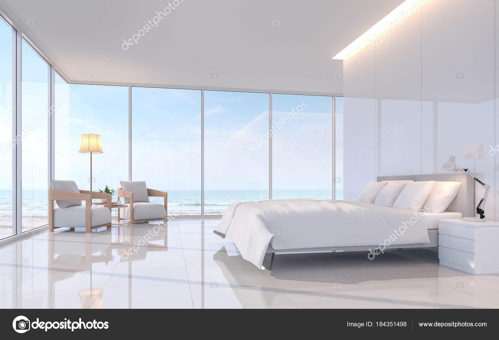 Moderne witte kamer met zee uitzicht rendering beeld zijn witte