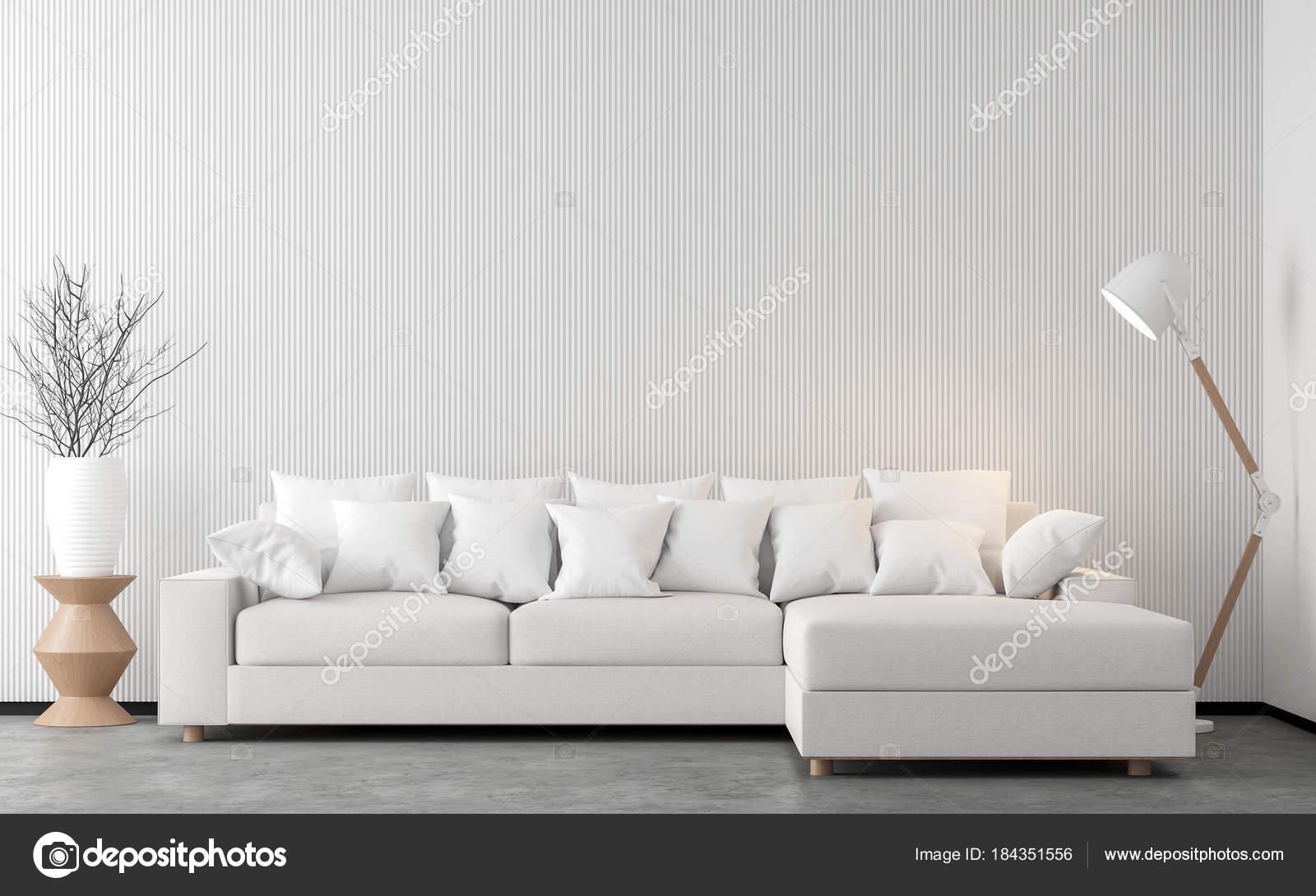 Minimal Stil Wohnzimmer Render Bild Gibt Betonboden Dekorieren Mit Weißen U2014  Stockfoto
