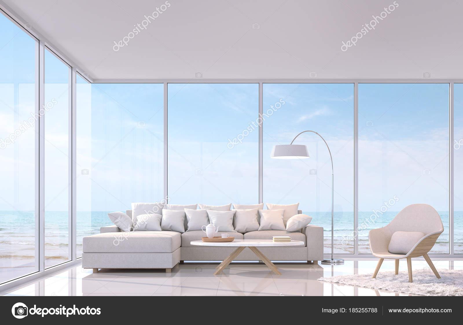 Moderne Weiße Wohnzimmer Mit Sea View Rendering Bild Gibt Weißen ...