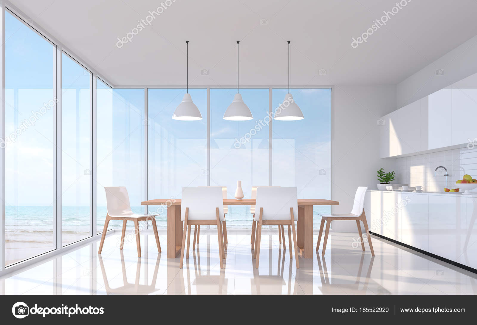 Moderna Sala Pranzo Bianca Con Mare Vedi Immagine Rendering Sono ...