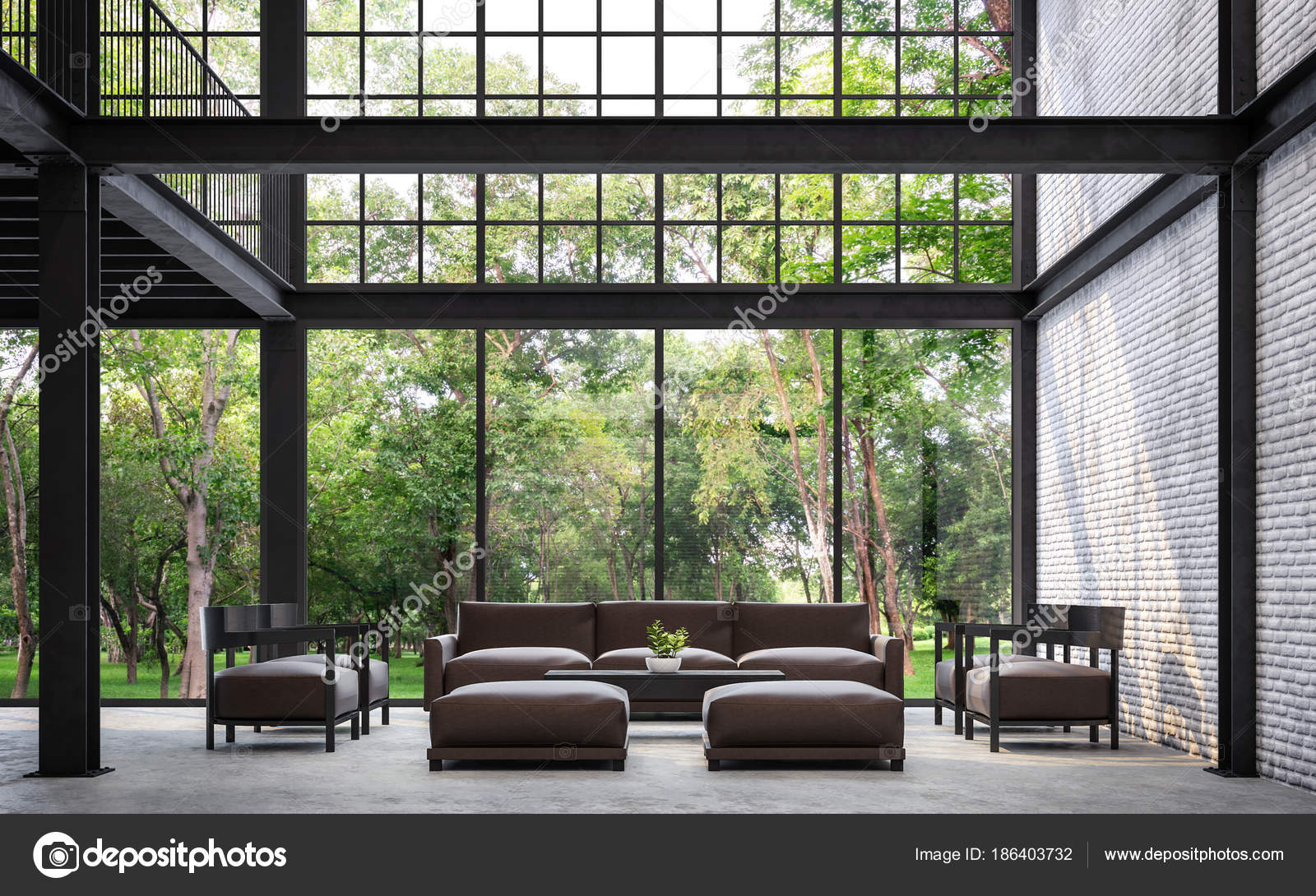Loft Style Living Room Nature View Rendering Image White ...