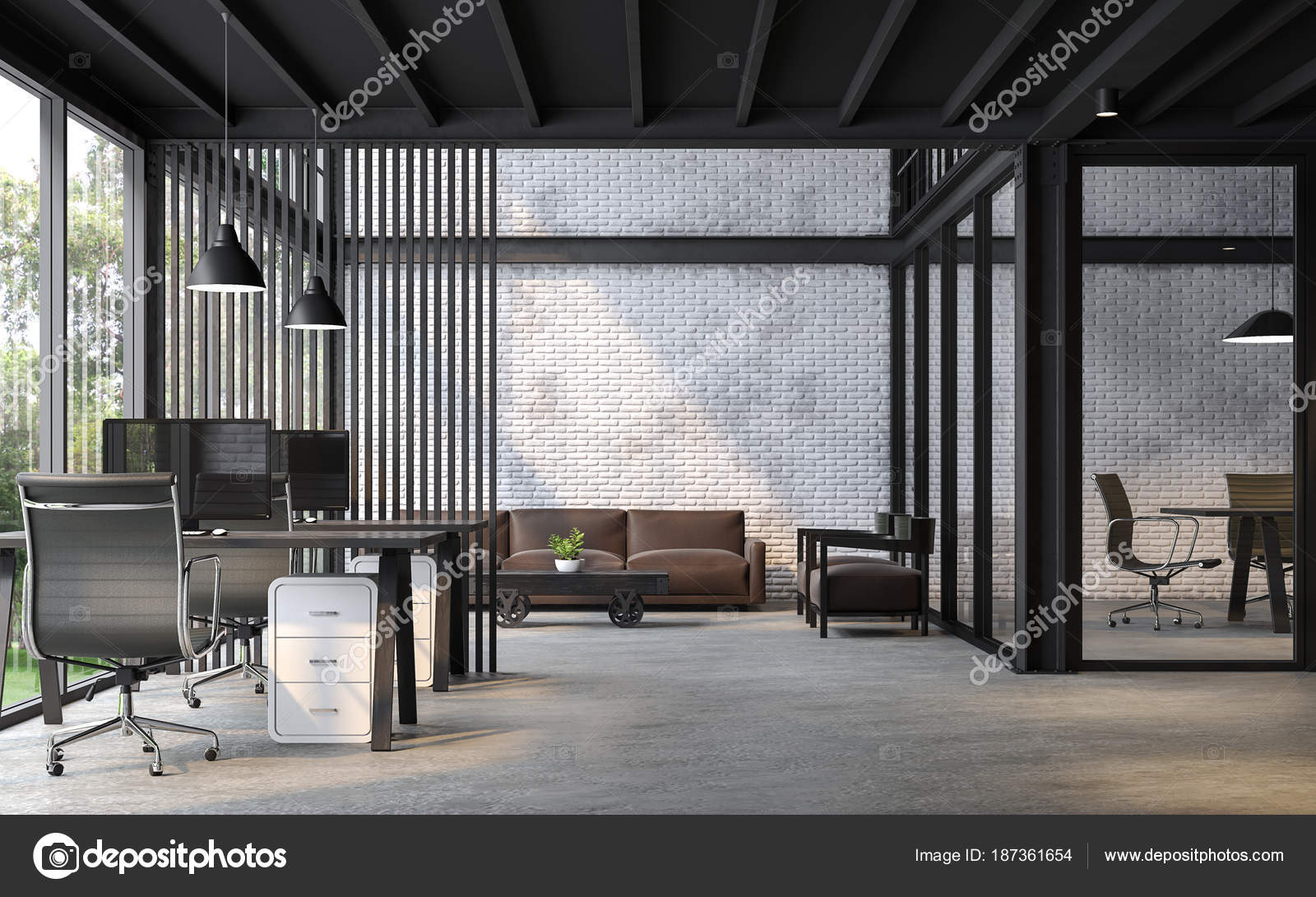 Grey Kitchen Walls Industrial Loft Style Office Render White Brick Wall