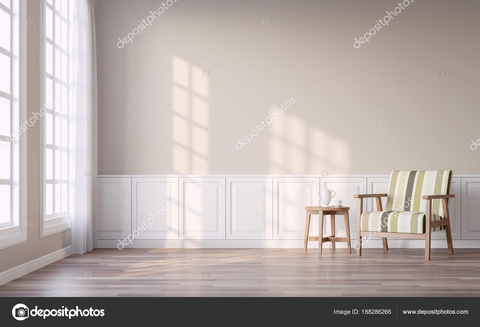 Wundervoll Moderne Vintage Wohnzimmer Mit Braunen Lichtwand Render Die Zimmer Verfügen  U2014 Stockfoto
