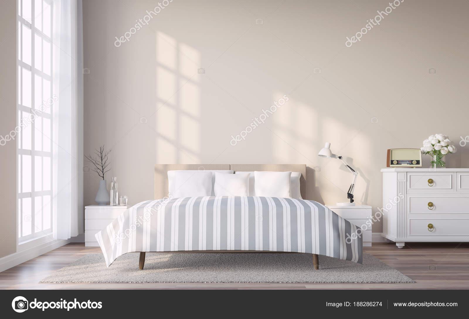Camere Da Letto Arredate Vintage : Moderna camera letto dell annata con render parete marrone chiaro