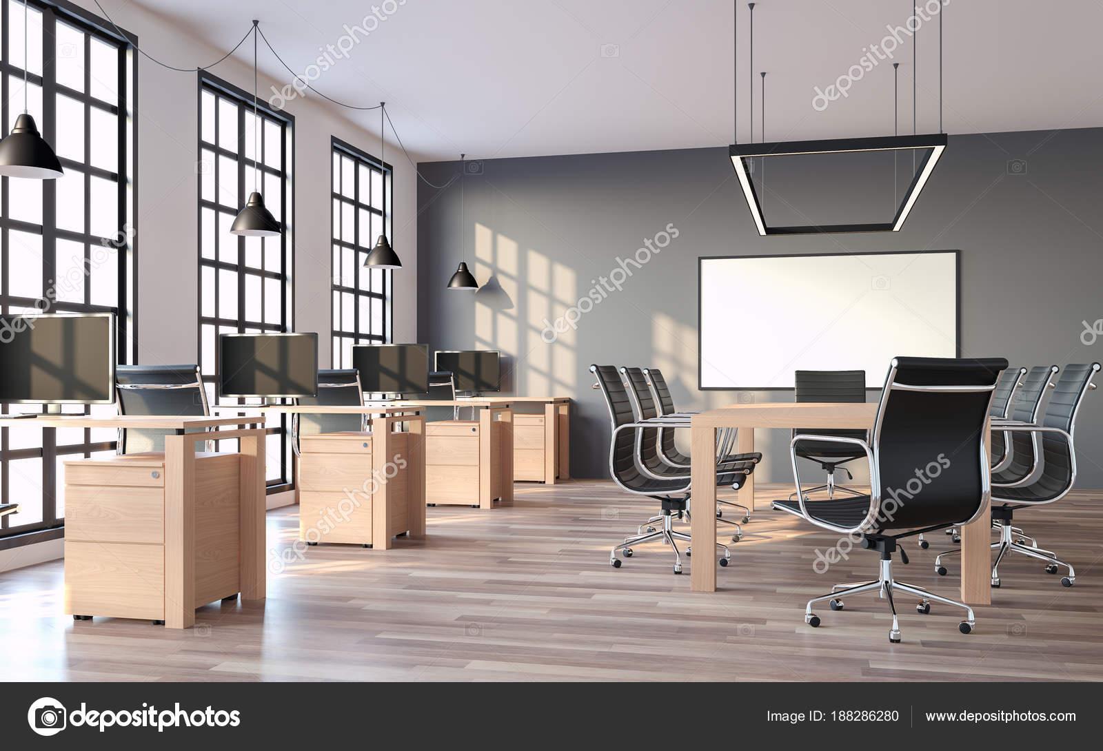 Bureau style loft moderne avec mur gris rendu les chambres