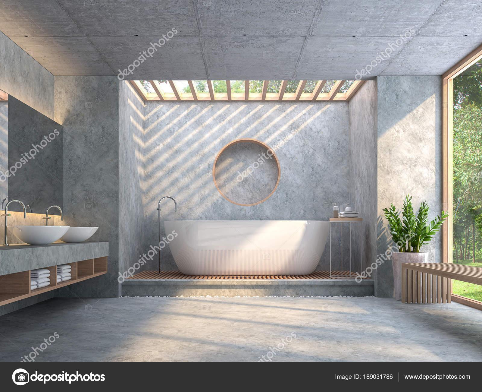 Salle Bain Style Loft Moderne Avec Rendu B Ton Poli Meubl