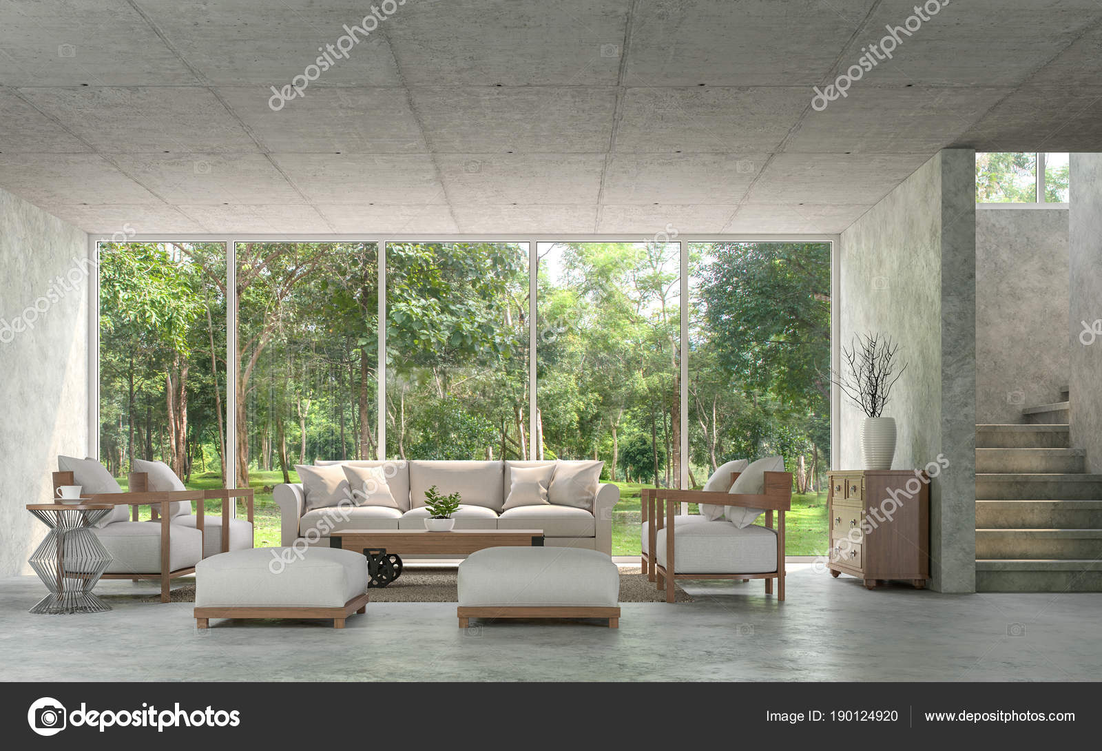 Modern Loft Style Living Room With Polished Concrete 3d Render.Furnished  With Fabric And Wood Furniture. There Are Window Overlooks To Nature.