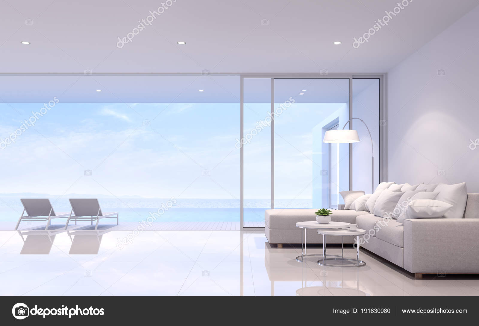Koraalkleur De Woonkamer : Zwembad villa woonkamer render zijn witte kamer ingericht met