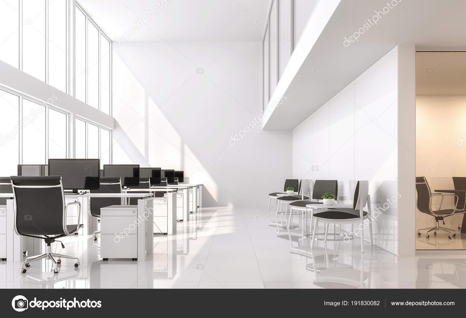 Moderne Weiße Büro Render Das Zimmer Hat Eine Hohe Decke — Stockfoto ...