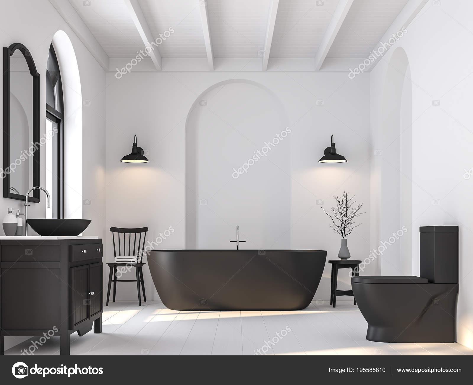 Minimale badkamer met zwart wit render zijn witte houten vloer