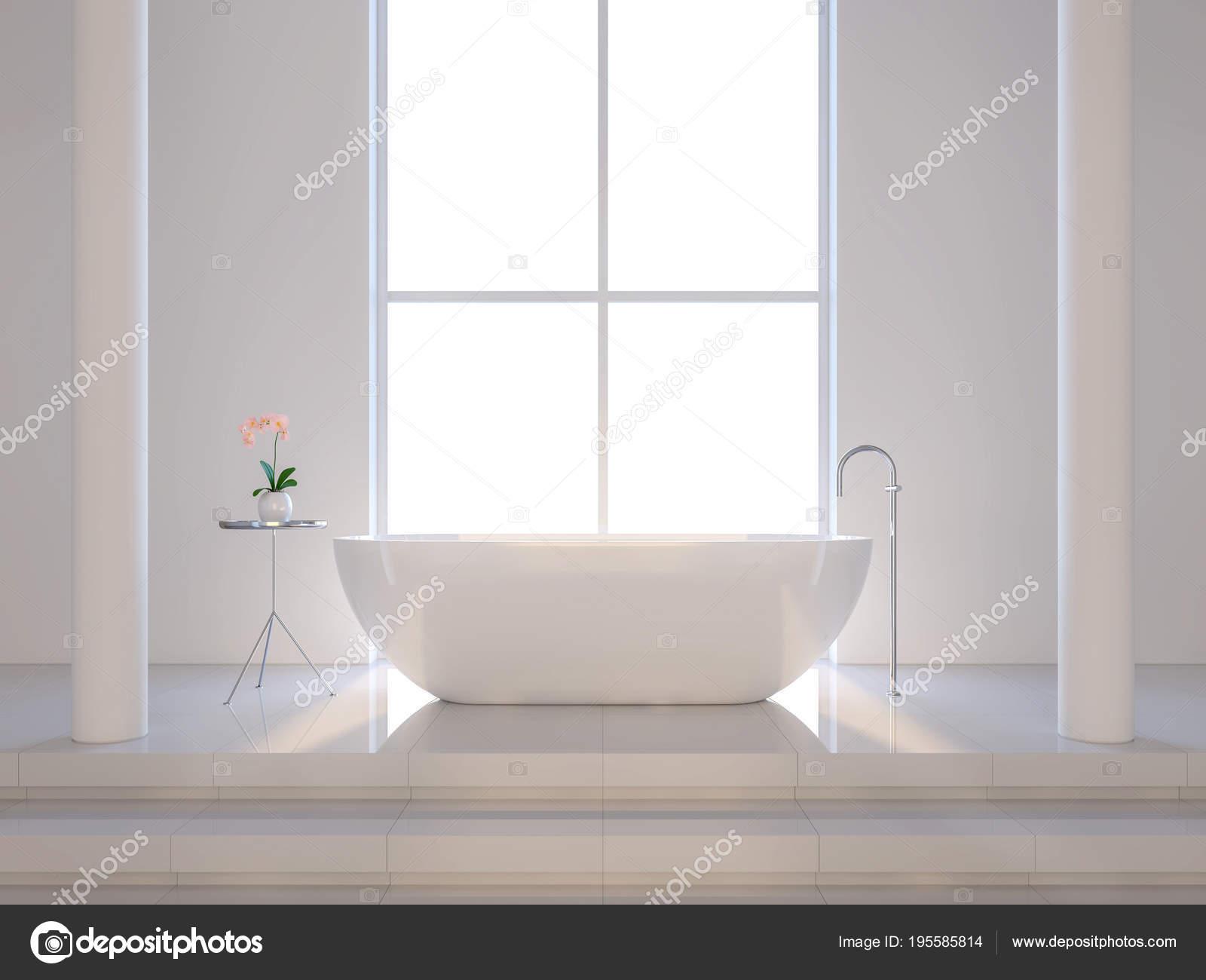 Bagno bianco minimal render sono pavimento piastrelle bianche