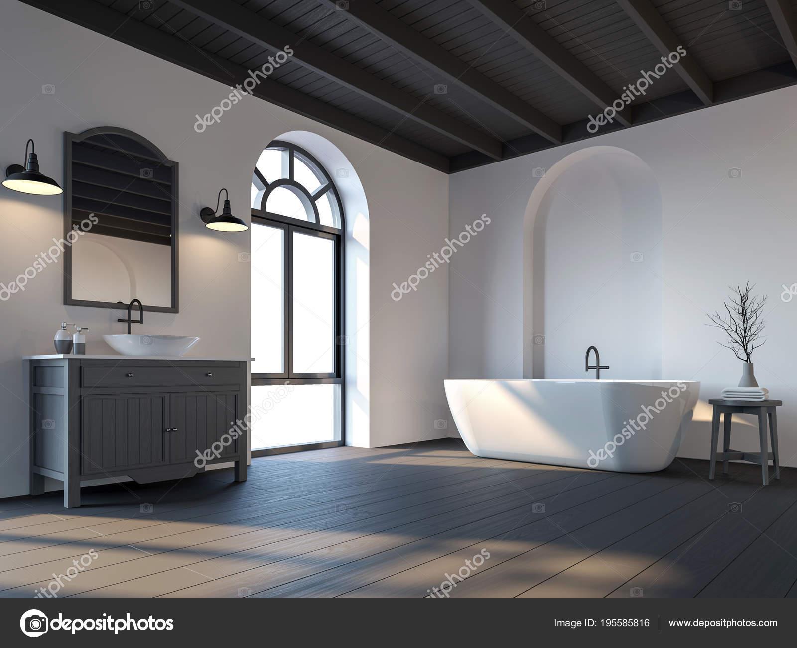 Agreable Salle De Bains Scandinave Avec Plancher De Bois Noir Rendu 3d. Il Y A Au  Plafond Et Plancher En Bois Noir. Meublé Avec Des Meubles En Gris Foncé.