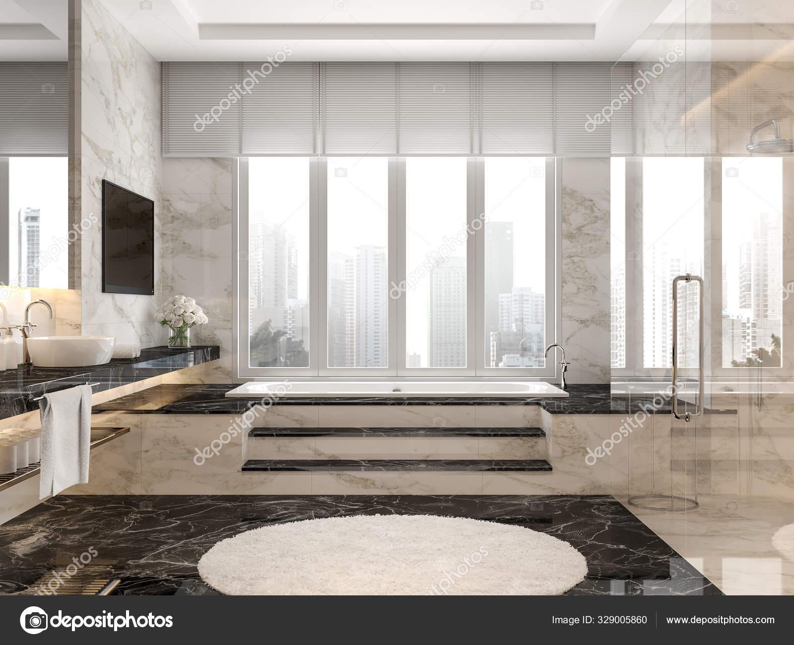 Modern Luxury Bathroom Black White Marble Tile Render Room Has Stock Photo C Onzon 329005860