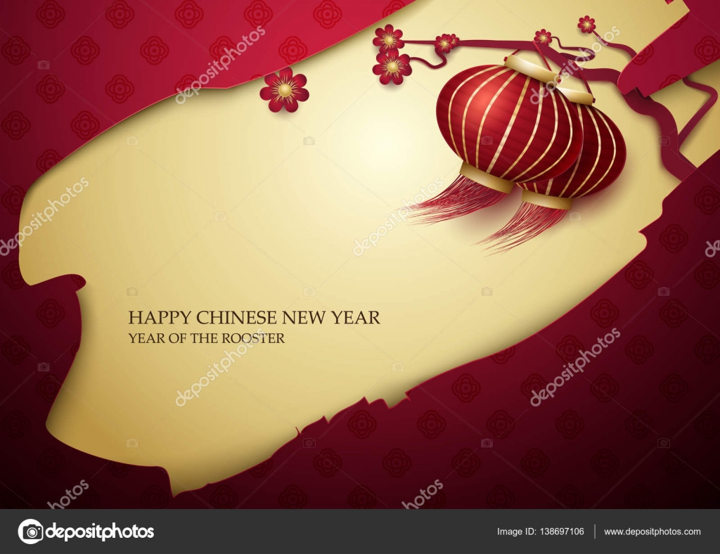 Feliz el a o nuevo chino 2017 l mparas linternas asi ticas con ramas florecientes del resorte - Lamparas asiaticas ...