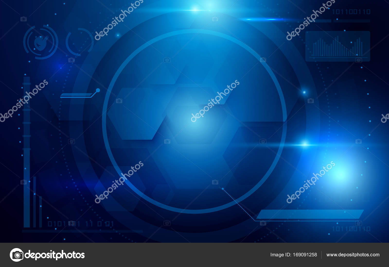 Abstract Interface Virtual Future Technology System Health And Care Info Concept On Blue Background Stock