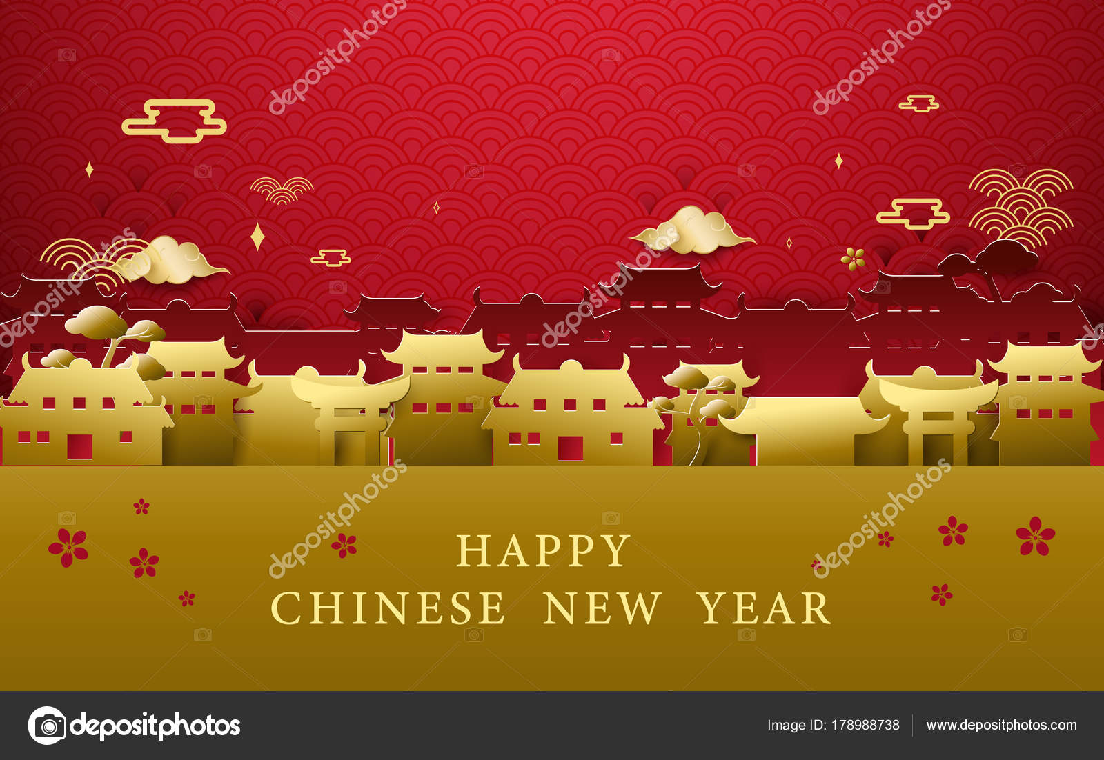 Happy Chinese New Year Greetings Gold And Red Chinese Village