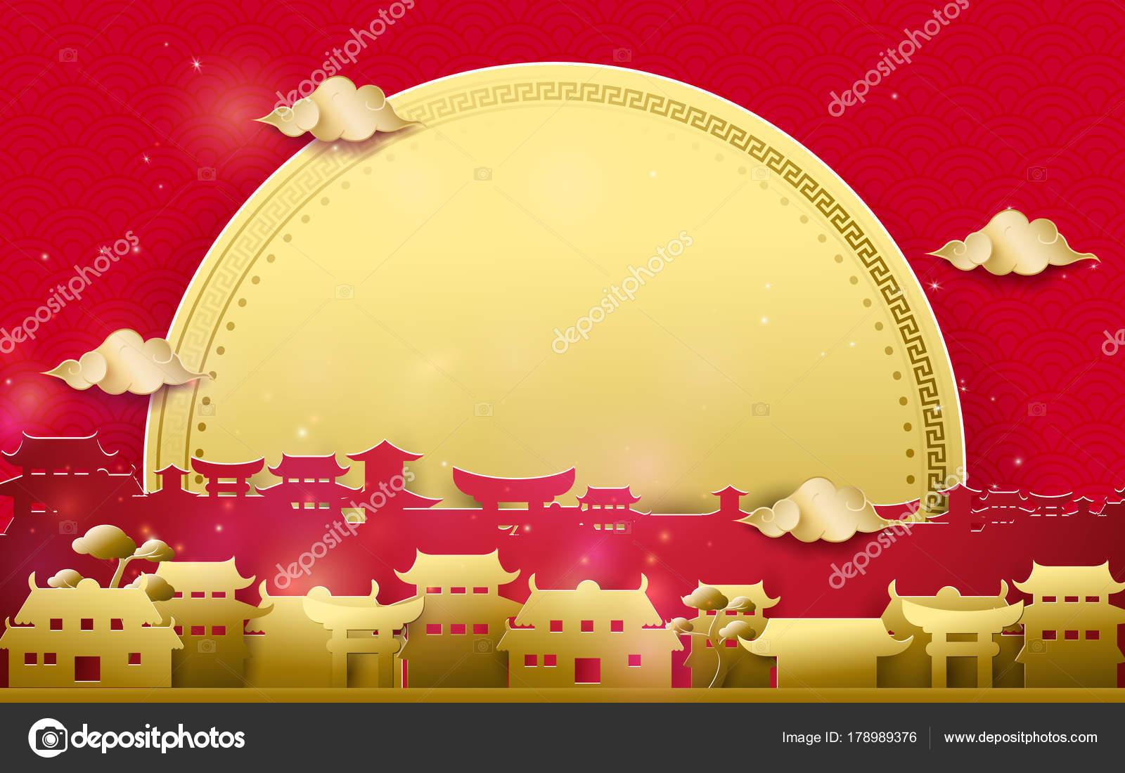 Frohes neues Jahr Gruß. Gold und rote chinesische Dorf mit großen ...