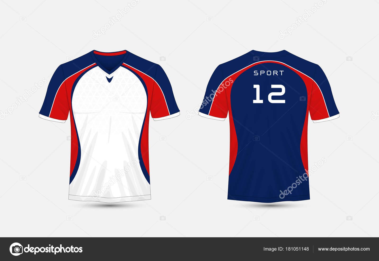 Bianco, blu e rosso della banda modello sport calcio kit, jersey, modello di