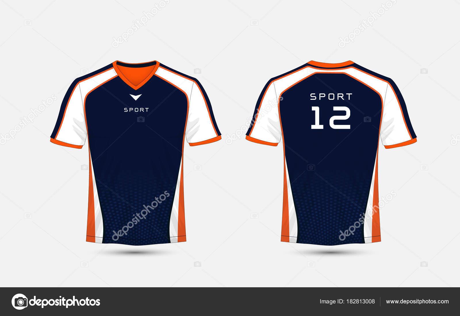 Azul, blanco y naranja deporte fútbol kits, jersey, plantilla de ...