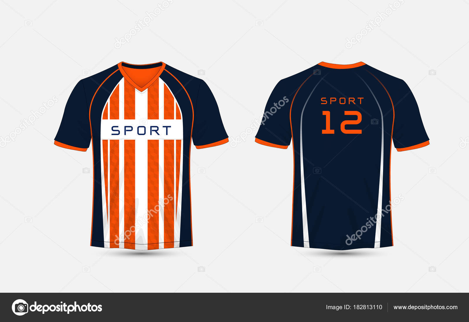 6a9308836 Blue, White and orange stripe pattern sport football kits, jersey, t-shirt  design template– stock illustration