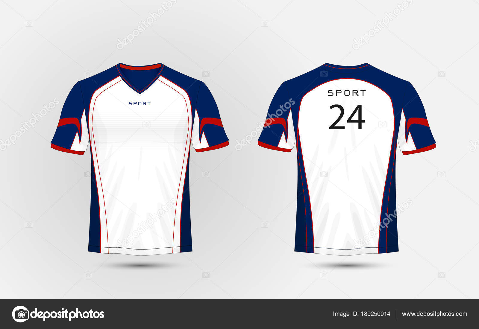 kits de fútbol deporte blanco, azul y rojo, jersey, plantilla de ...