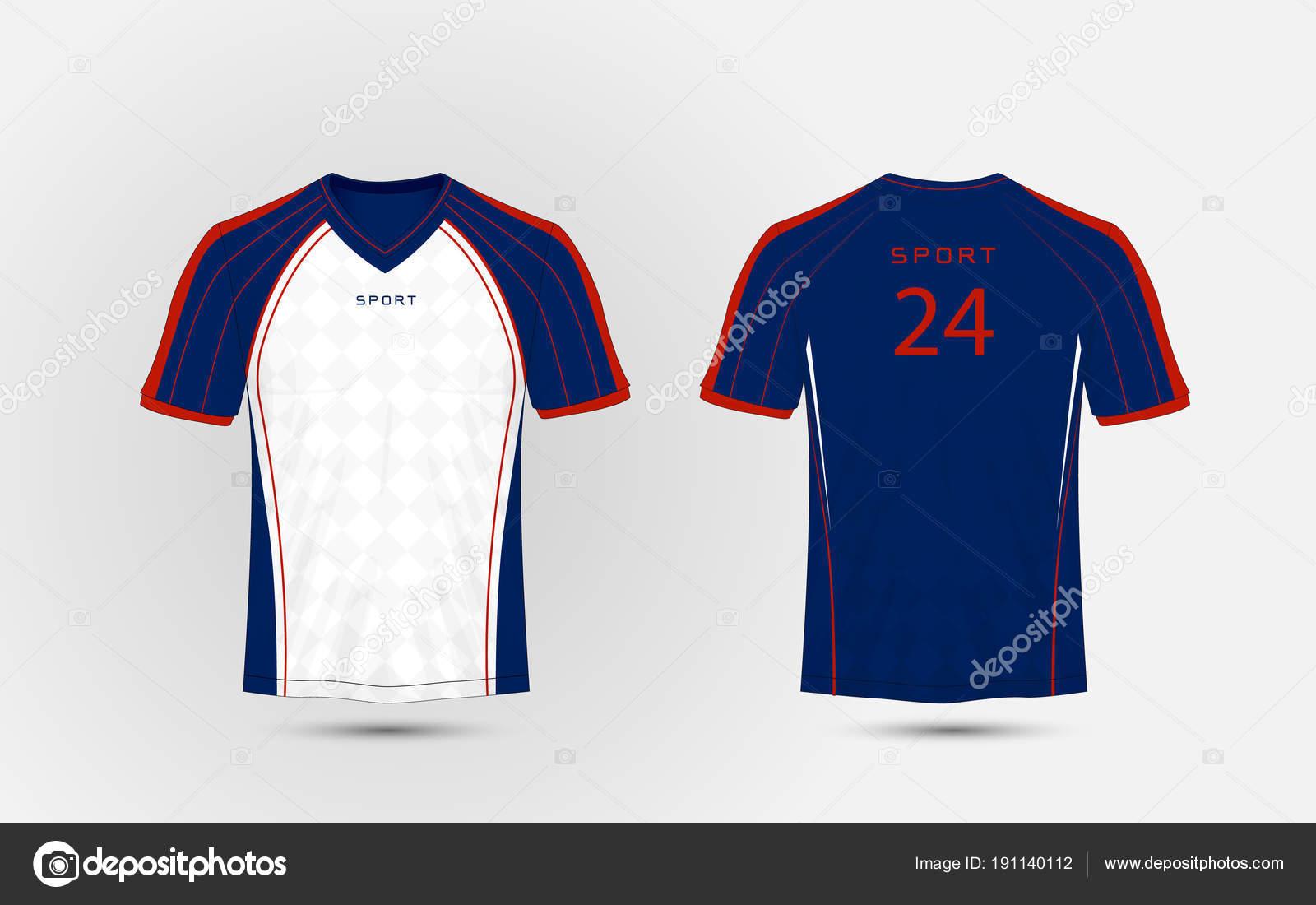 Sport Tee Shirts Designs | Blau Weiss Rote Linien Layout Fussball Sport T Shirt Bausatze Jersey