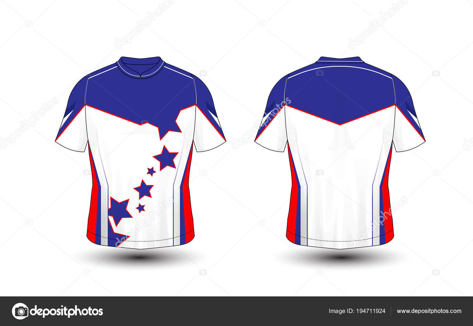 Blue White And Red Layout Sport T Shirt Kits Jersey Shirt Design